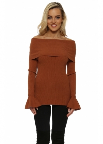 Tan Fine Knit Off The Shoulder Jumper