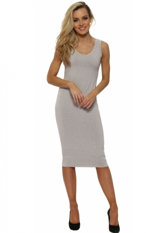 Nancy Chalk Melange Jersey Midi Dress