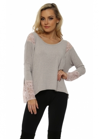 Eve Chalk Melange Lace Insert Karma Top