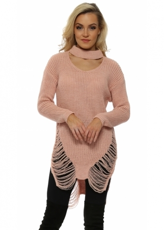 Pink Distressed Choker Chunky Knit Jumper
