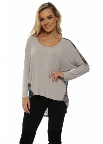 Bonnie Chalk Bejewelled Chiffon Back Tunic Top