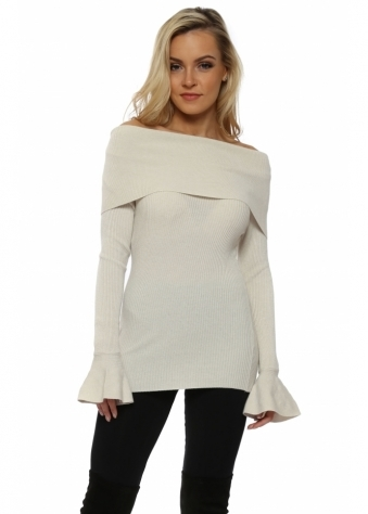 Ivory Fine Knit Off The Shoulder Jumper