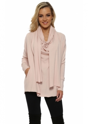 Pink Cowl Scarf Neck Pockets Jumper