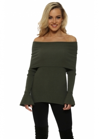 Khaki Fine Knit Off The Shoulder Jumper