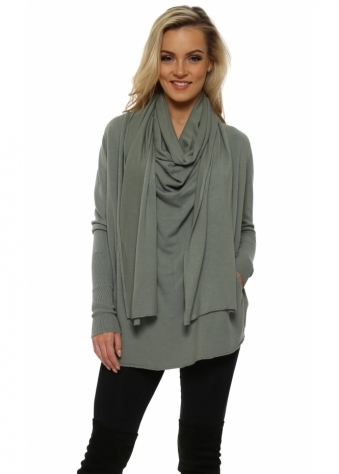 Sage Green Cowl Scarf Neck Pockets Jumper