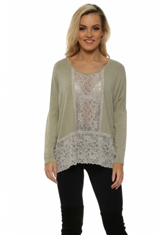 Binkie Nomad Melange Lace Insert Slouch Top
