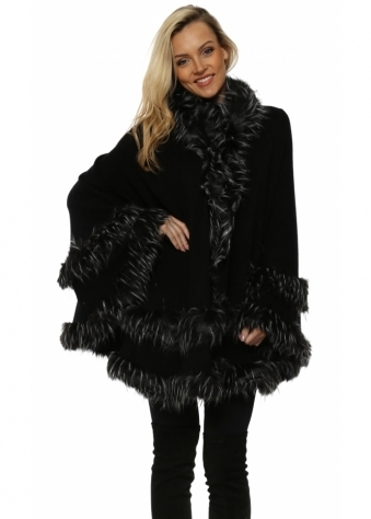 Double Border Black White Tipped Faux Fur Hooded Cape
