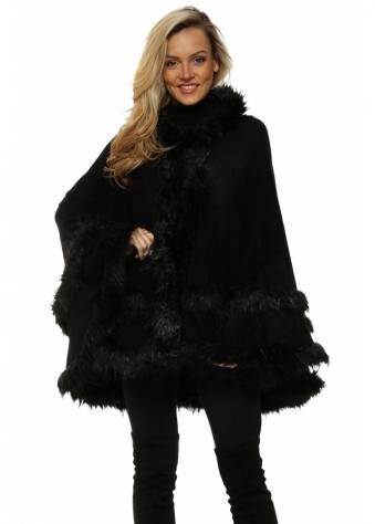 Double Border Black Faux Fur Hooded Cape