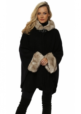 Buckle Hooded Black Luxe Faux Fur Cape