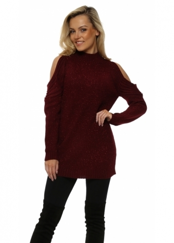 Burgundy Polo Neck Cold Shoulder Chunky Knit Lurex Jumper