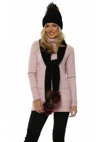 Black Faux Fur Multi Bobble Cable Knit Scarf & Hat
