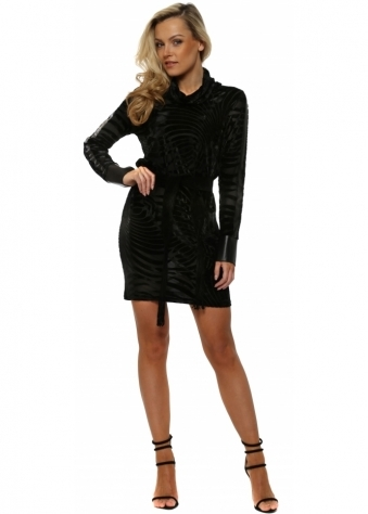 Black Velvet Devore Roll Neck Long Sleeve Dress