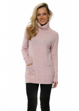 Pink Soft Knit Pockets Polo Neck Jumper