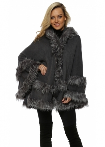 Double Border Grey Faux Fur Hooded Cape