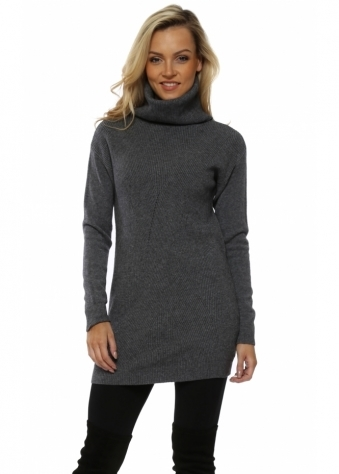 Grey Soft Knit Ribbed Polo Neck Jumper