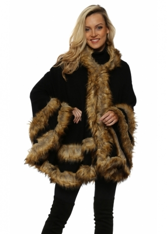 Double Border Black Faux Fur Fox Hooded Cape