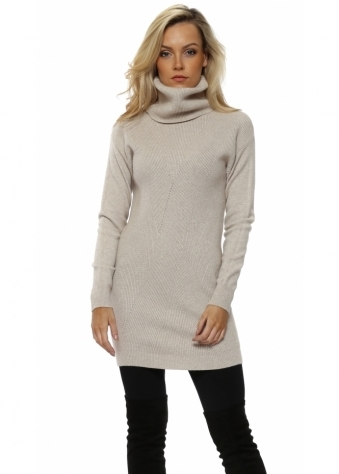 Beige Soft Knit Ribbed Polo Neck Jumper