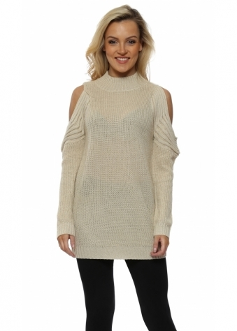 Cream Polo Neck Cold Shoulder Chunky Lurex Knit Jumper
