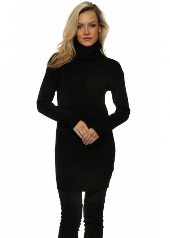 Black Soft Knit Ribbed Polo Neck Jumper