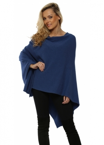 Blue Knitted Cowl Neck Poncho