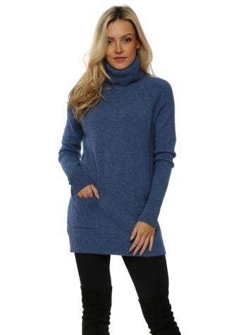 Blue Soft Knit Pockets Polo Neck Jumper