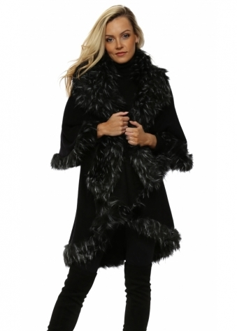 Black Double Layered White Tipped Faux Fur Cape