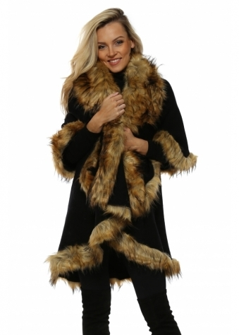 Double Layered Black Fox Faux Fur Swing Cape