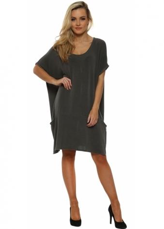 Fallon Big Pocket Dress Top In Bark