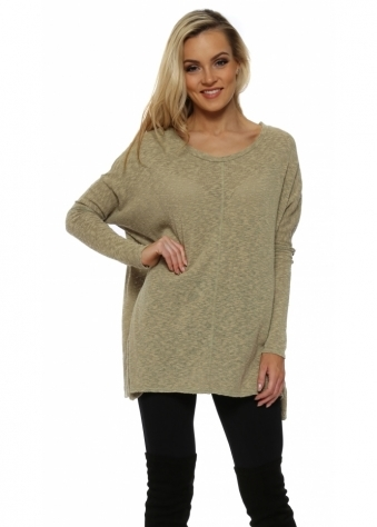 Pia Slub Knit Tunic Sweater In Nomad