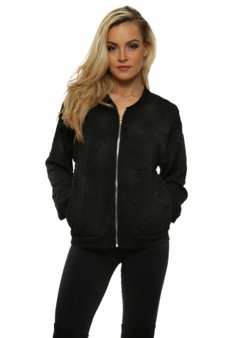 Chelsea Black Cloque Bomber Jacket