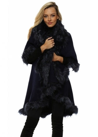 Navy Blue Double Layered Faux Fur Cape