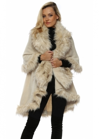 Double Layered Beige Faux Fur Swing Cape