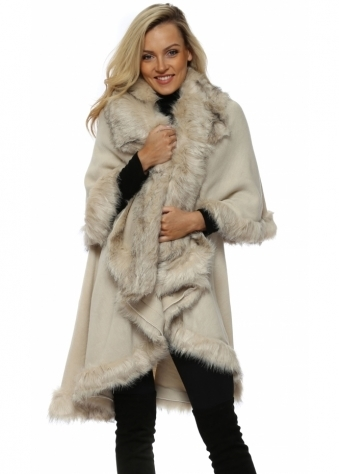 Double Layered Beige Tonal Faux Fur Swing Cape
