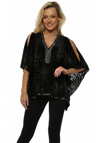Black Cold Shoulder Devore Beaded Kaftan Top