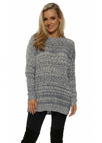Blue & White Hole knit Jumper