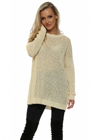 Yellow & White Hole knit Jumper