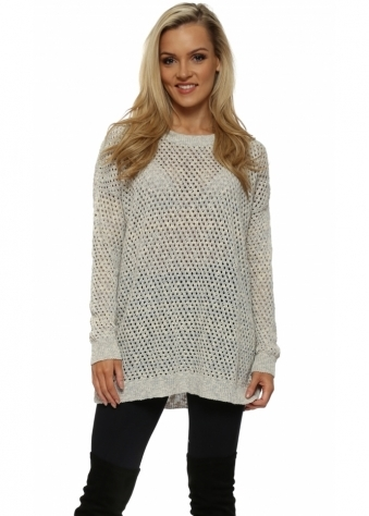 Cream & Grey Hole knit Jumper