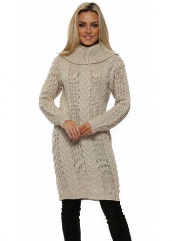 Beige Cable Knit Jumper Dress
