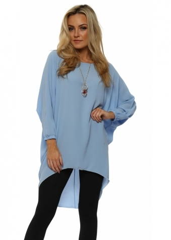 Sky Blue Crepe Tunic Top With Necklace