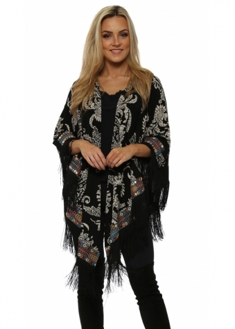 Black Paisley Print Multi Braid Fringed Cape