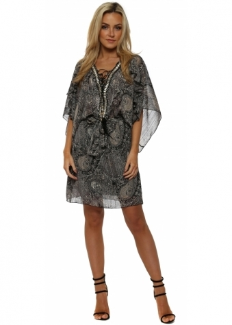 Grey Paisley Chiffon Ruffle Beaded Bodice Dress