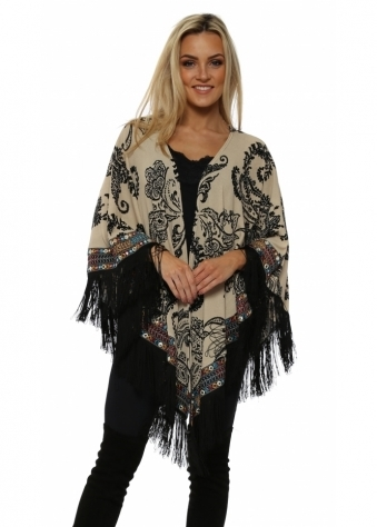 Beige Paisley Print Multi Braid Fringed Cape