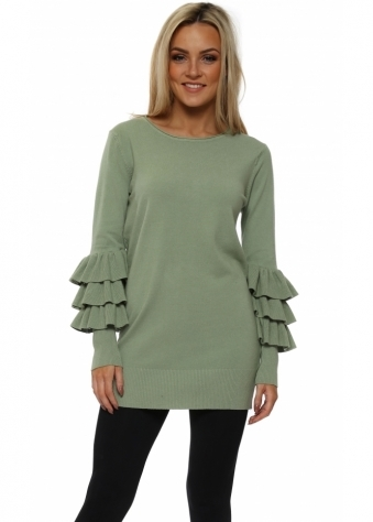 Sage Green Frill Sleeve Tunic Jumper