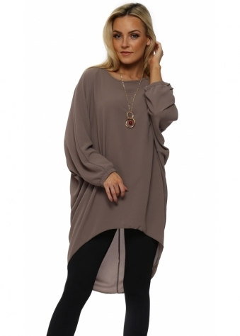 Mocha Crepe Tunic Top With Necklace