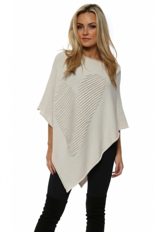 Cream Fine Knit Heart Poncho