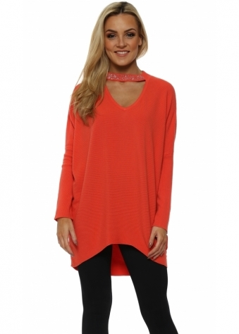Coral Crystal Choker Necklace Jumper