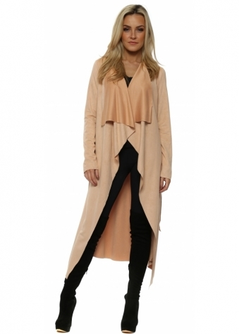 Nude Faux Suede Waterfall Belted Coat