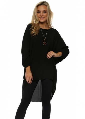Black Crepe Tunic Top With Necklace