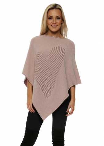 Baby Pink Fine Knit Heart Poncho