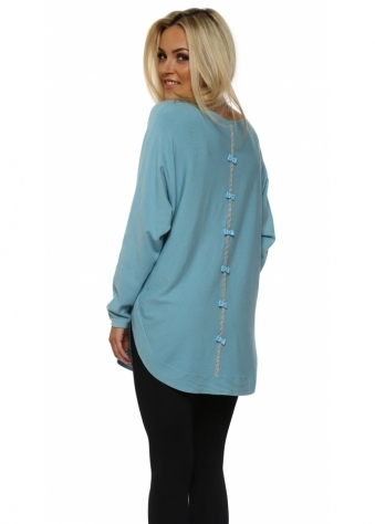Turquoise Diamonte Bow Back Jumper